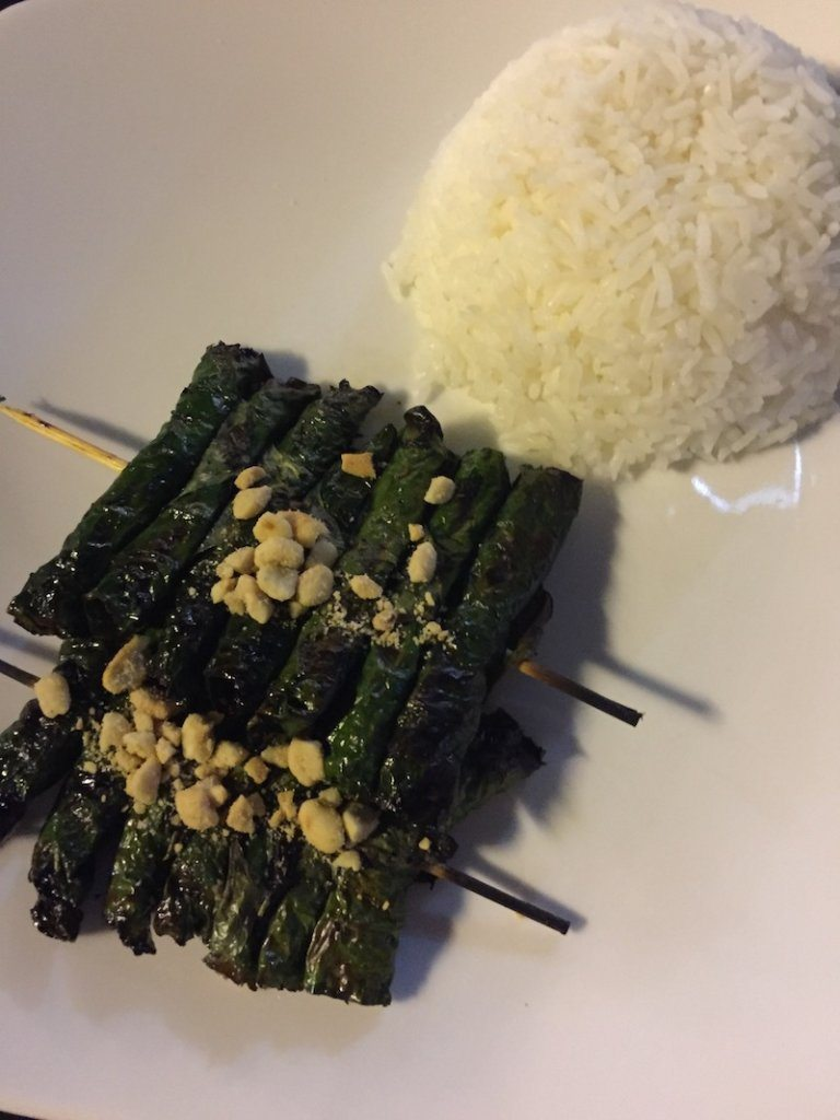 grilled betel leaf with marinated beef  Ladies What Travel