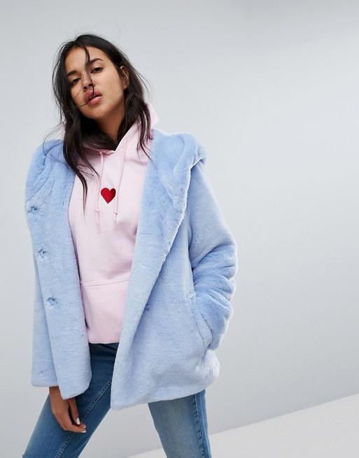 ASOS faux fur blue