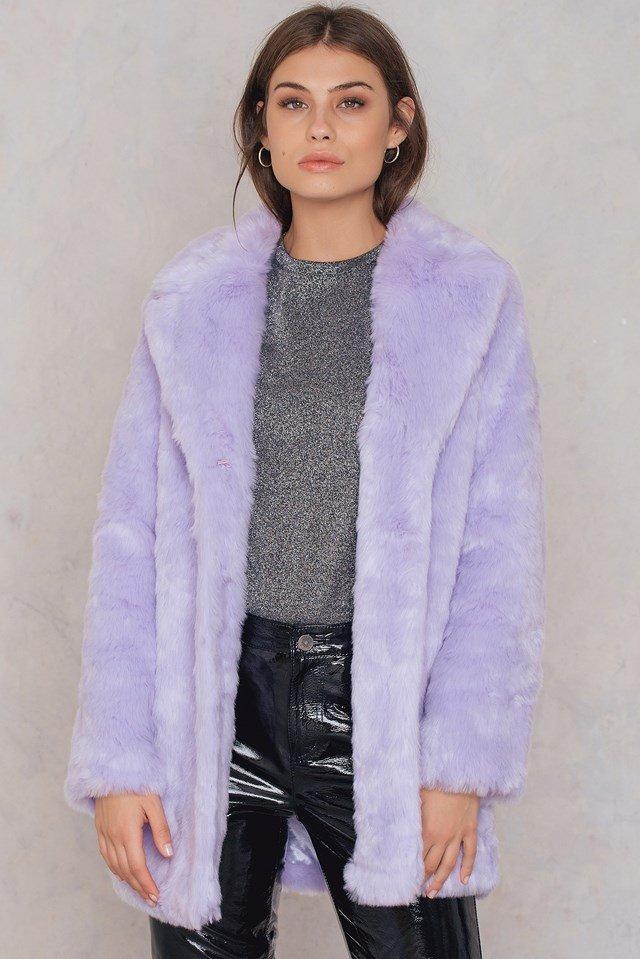 NA-KD purple faux fur