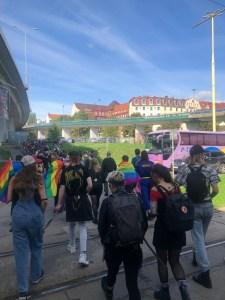 Grupo de manifestantes viajando desde Berlín hacia Szczecin