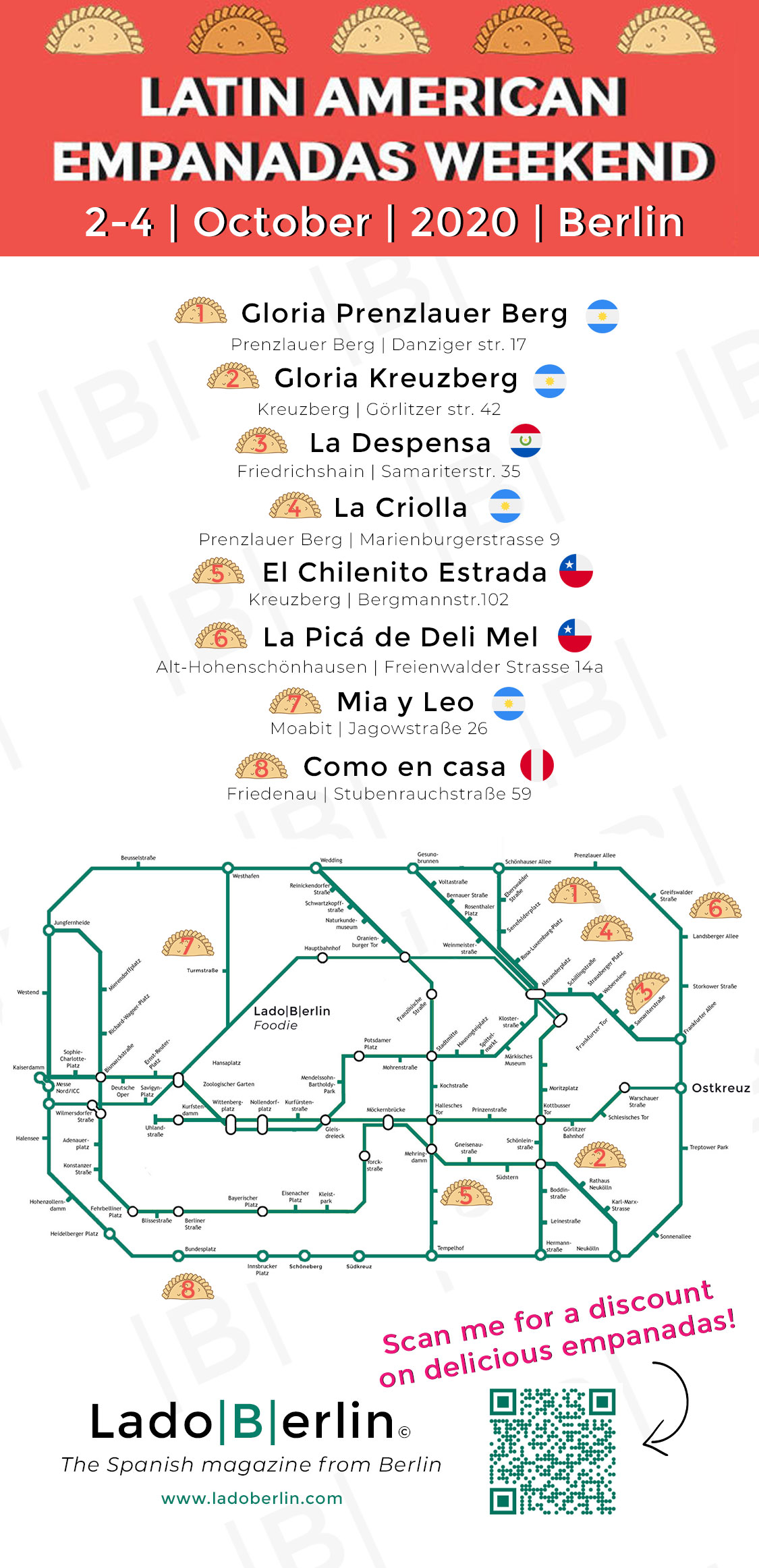 Restaurant Map - 1st Festival of Latin American Empanadas in Berlin 2-4 October 2020 - organized by the Spanish Magazine from Germany Lado|B|erlin.