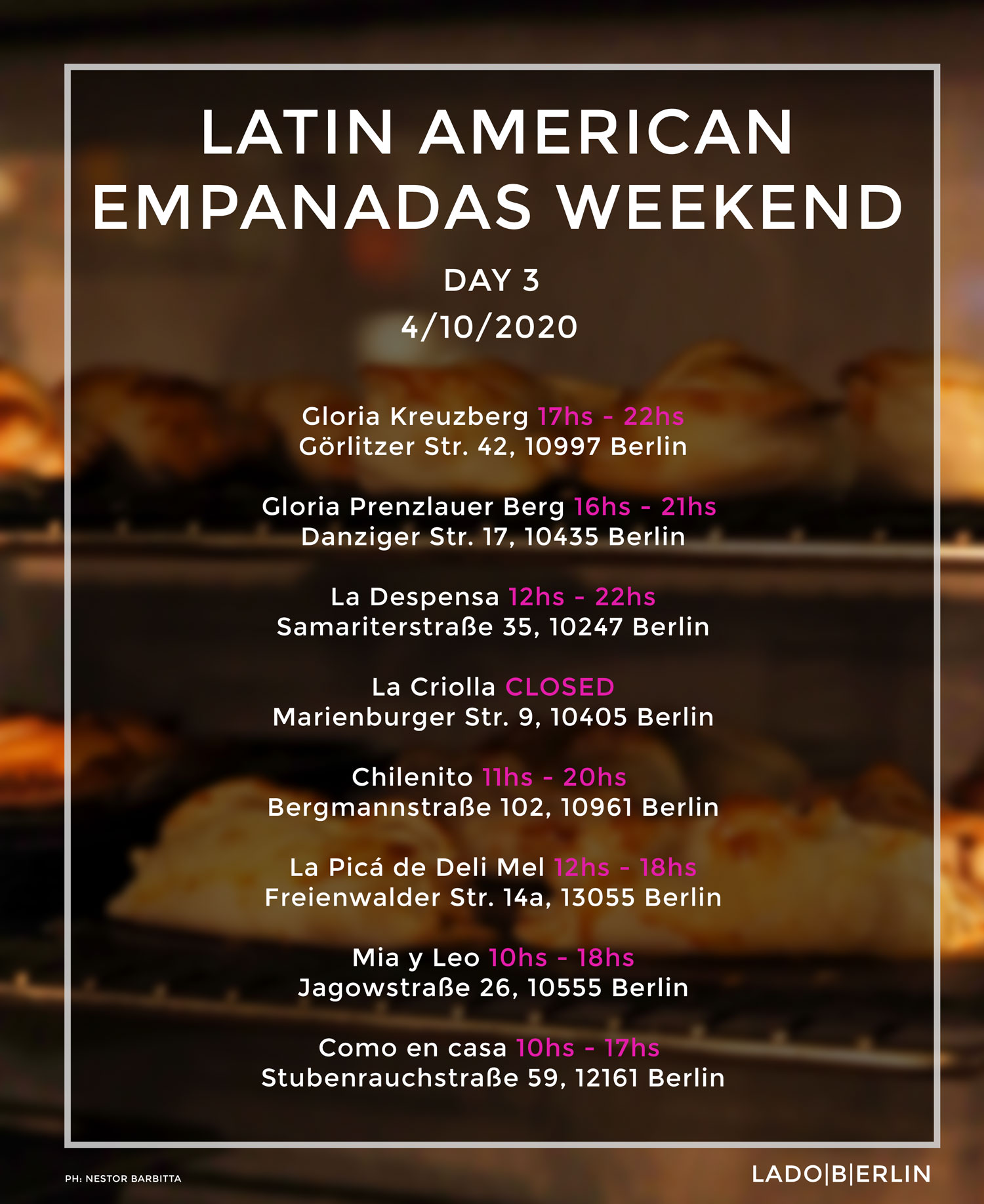 Latin American Empanadas Weekend - Day 3 - time table.
