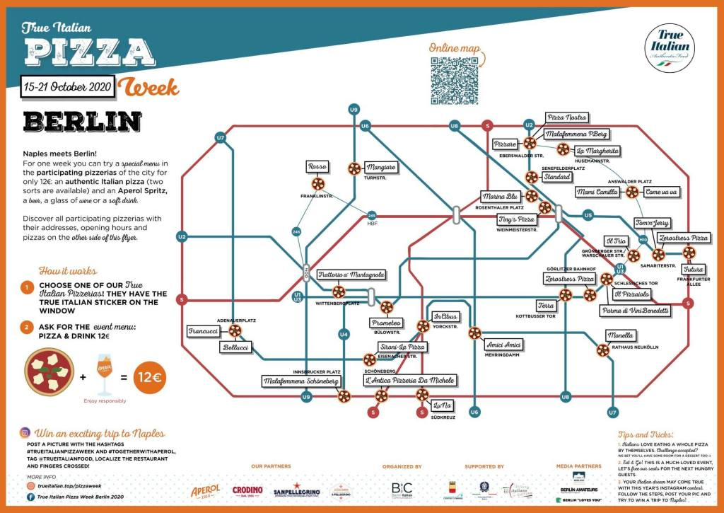 Mapa True Italian Pizza Week Berlin 2020.
