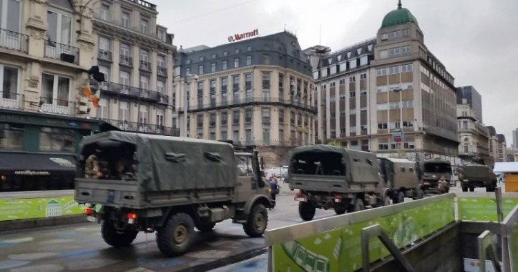 Brussels soldiers and army trucks