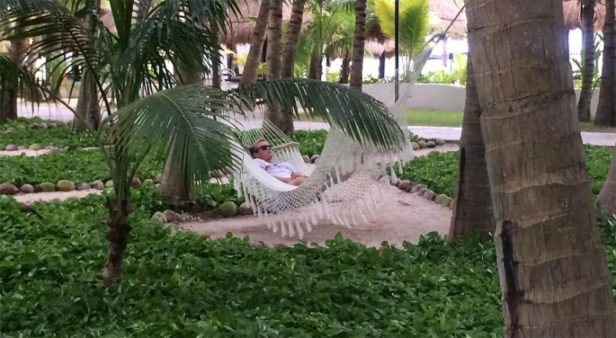Brother Tommy lazing around in our 5* Sensimar Spa Hotel