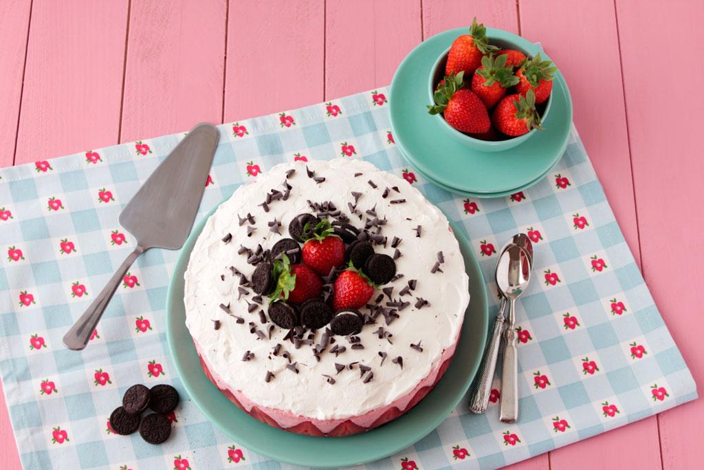 tarta de fresas y oreo sin horno