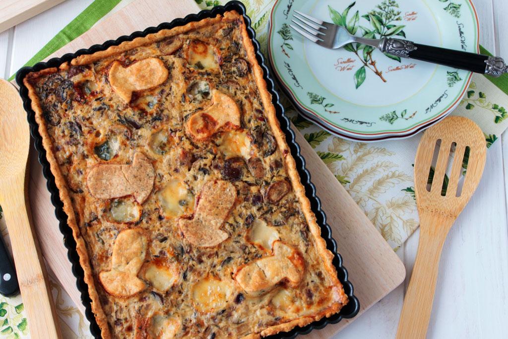 Tarta de setas variadas y queso Roquefort