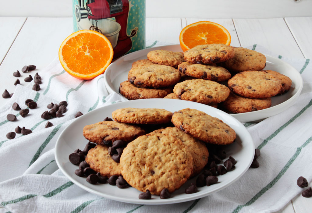 Galletas de avena con naranja y chocolate