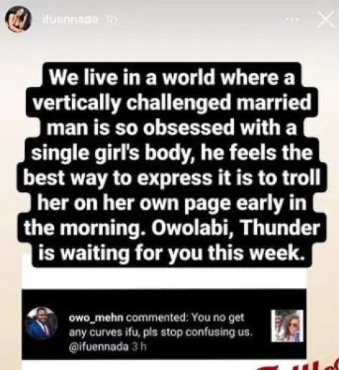 Ifu Ennada slams troll who body-shamed her