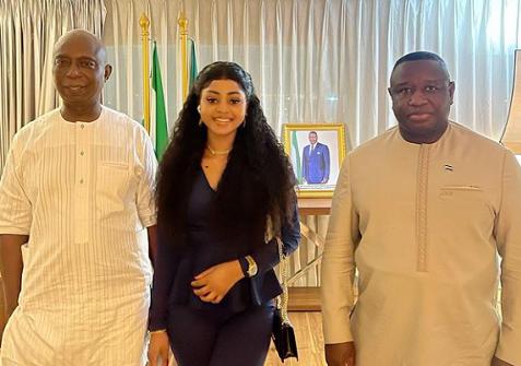 Regina Daniels joins her husband, Ned Nwoko to meet the President of Sierra Leone