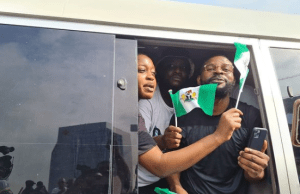 Falz, others join in car procession, as youths again RAISE THE NIGERIAN FLAG