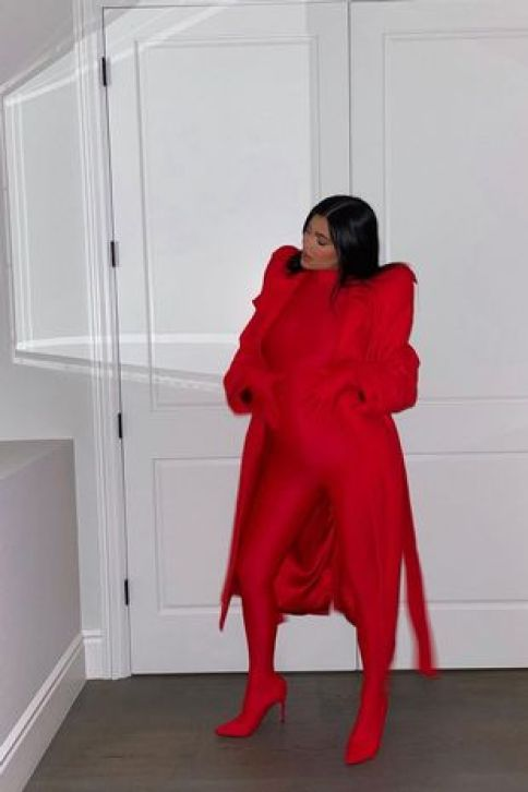 Kylie Jenner displays baby bump as she copies sister Kim Kardashian with edgy catsuit