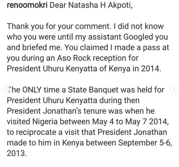 Reno Omokri REPLIES Ex-Kogi Governorship candidate over flirting claims