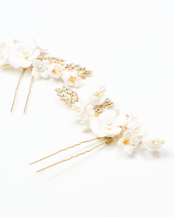épingle cheveux mariage fleurs céramique