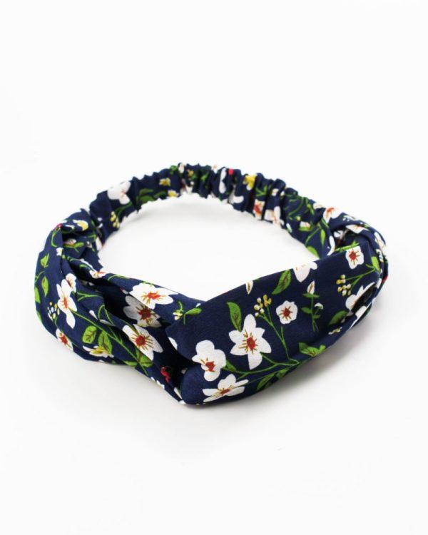 headband cheveux femme bleu avec fleurs blanches