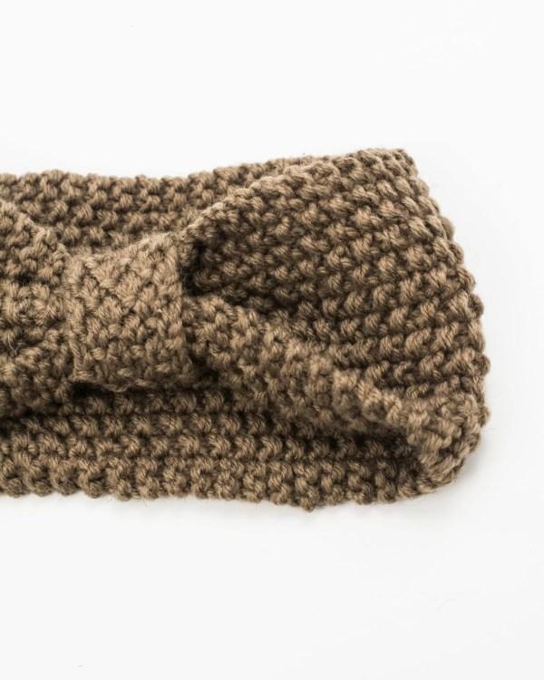 headband hiver à noeud marron