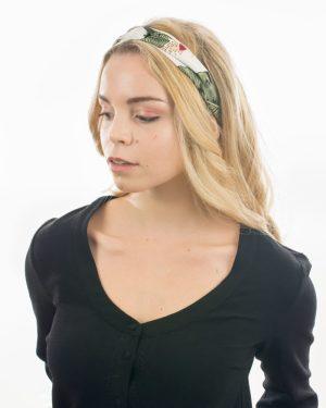bandeau cheveux femme blanc vert avec feuille