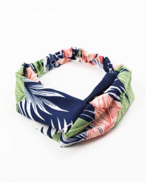 bandeau cheveux femme bleu avec motif feuilles