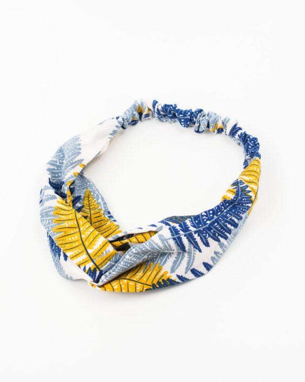 bandeau cheveux femme motif jungle bleu et jaune