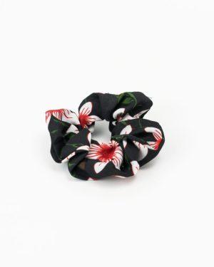 Chouchou cheveux femme noir à fleurs