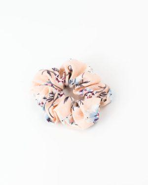 Chouchou cheveux femme rose à fleurs bleues et blanches