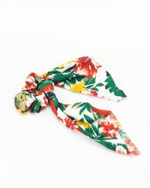 Chouchou foulard satin à fleurs hibiscus