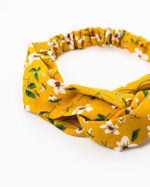 heaband cheveux jaune fleurs blanches