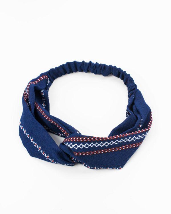 headband cheveux femme bleu marine géométrique