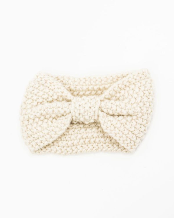 headband hiver tricot crème