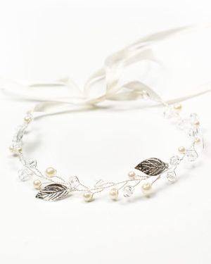 Headband mariage feuilles argentées
