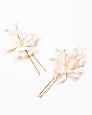 épingle cheveux mariage fleurs rose