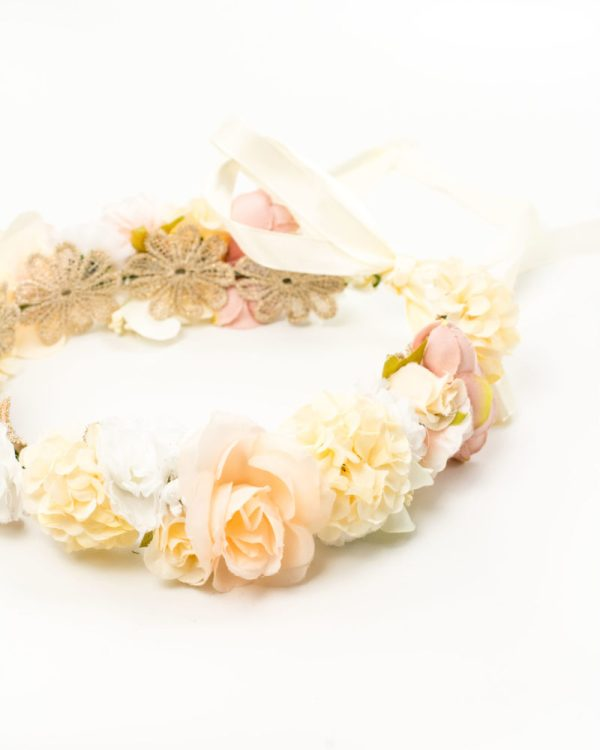 Couronne de fleurs mariée fleurs blanches et jaunes