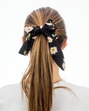 Chouchou foulard noir à fleurs