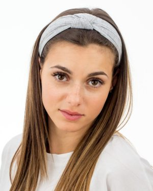 Serre tête femme en tissu gris