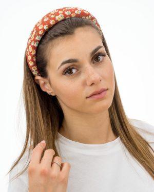 serre tête femme rouge à fleurs blanches