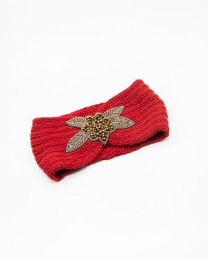 bandeau cheveux en laine rouge avec fleur à strass