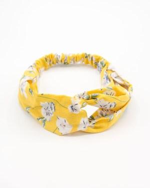bandeau cheveux femme jaune à fleurs blanches