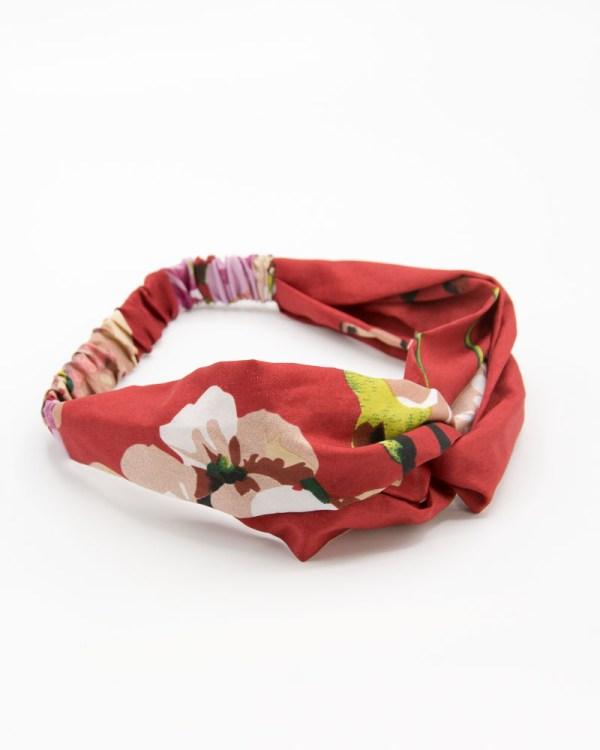 Bandeau cheveux femme rouge à fleurs