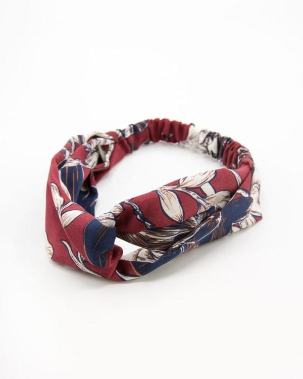 bandeau cheveux rouge bordeaux et bleu à motif végétal