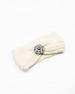 bandeau de tête tricot crème à fleur ronde en strass