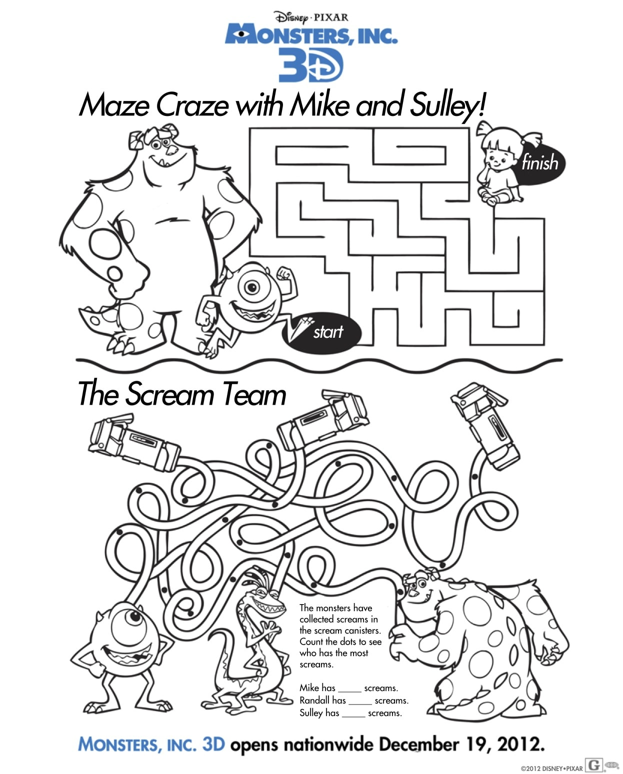 Free Monsters Inc 3d Activity Sheets Download Coloring