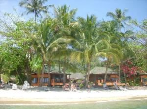 Sand Sea Resort & Spa bungalows seen from the sea