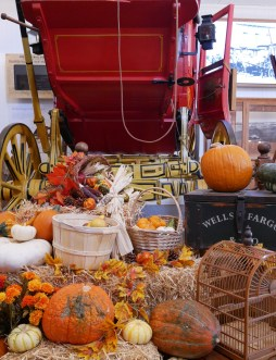 Autumn décor located inside the Wells Fargo Bank building at the base of the WF Stagecoach. | Photo credit: Krista