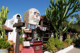 A giant sugar skull greets diners at Barra Barra Saloon. | Photo credit: Krista