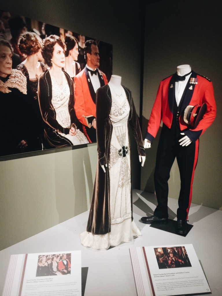 Gown and evening suit from Dressing Downton exhibit at Lady by Choice blog