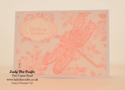 Stampin' Up!, Wedding card made with - Detailed Dragonfly thinlits dies, Fresh Florals DSP, Label Me Pretty stamp set, Pretty Label punch,  Stampin' Up! Powder Pink cardstock,