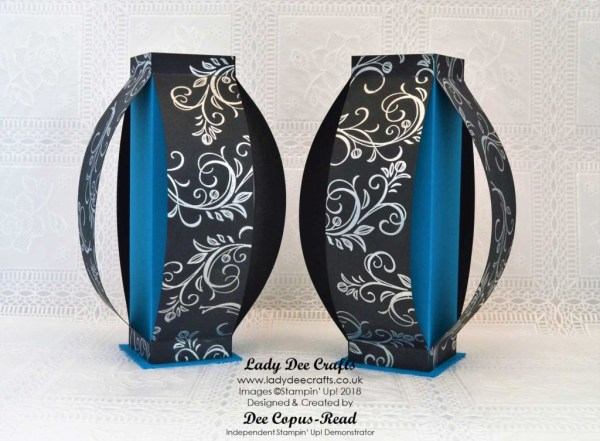 Oriental style Vases using stampin' up! products - Silver heat embossed swirl from the Falling Flowers stamp set, Pacific Point & Basic Black cardstock - by Lady Dee Crafts