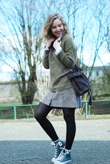 Suede Button Front Skirt