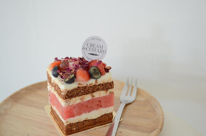 Cream & Custard Strawberry Watermelon Cake