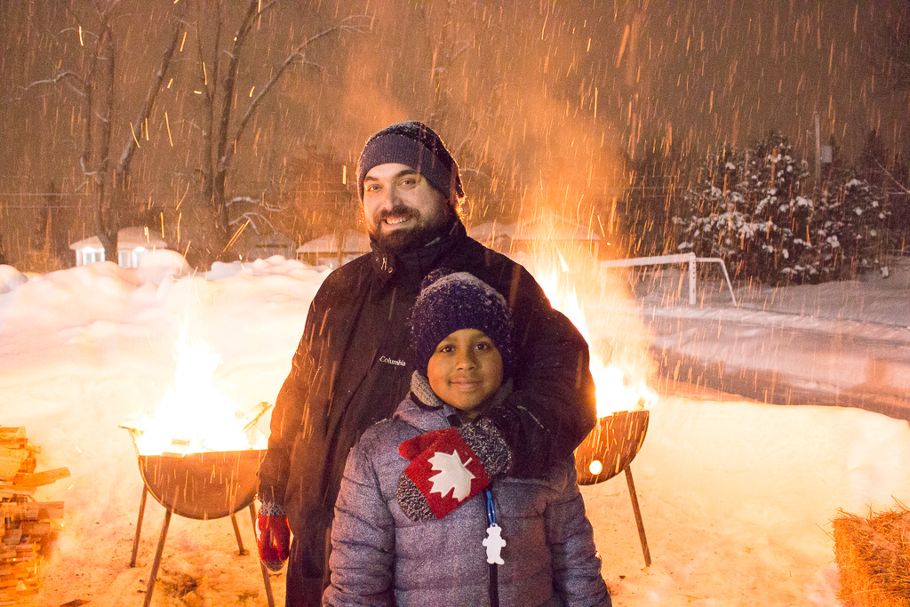 Fire and Ice Winter Night At Pointe-Calumet